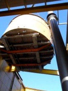 10 tonne lautertun being lifted by 250 tonne crane at Cains Brewhouse