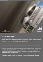 Online Sale on Behalf of Henderson Food Machinery Various Items of Food Process and Packing Equipment